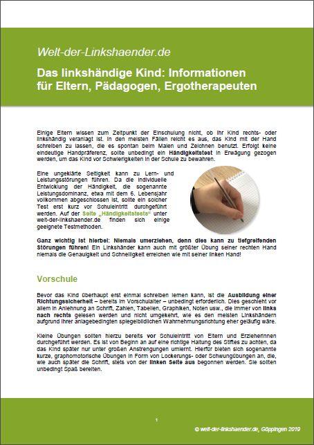 Linkshänder Informationen für Eltern, Pädagogen, Ergotherapeuten